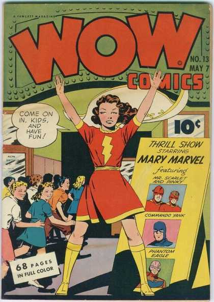 Wow Comics 13 - Come On In Kids And Have Fun - Commando Yank - Phantom Eagle - Thrill Show - Mr Scarlet And Pinky