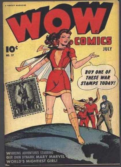 Wow Comics 27 - Stamps - Mary Marvel - War Comics - July - 10 Cents
