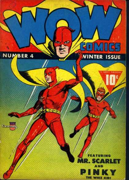 Wow Comics 4 - Mr Scarlet - Pinky - Red - Whiz Kid - Flying