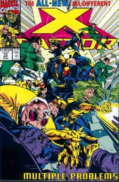 X-Factor 73 - Battle - Green Hair - Superhero - Multiple Problems - Yellow Gloves - Larry Stroman