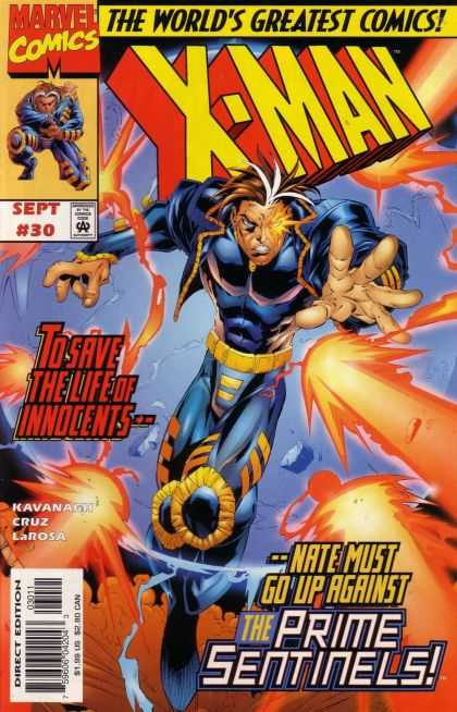 X-Man 30 - The Prime Sentinels - Nate - Fighting - Glowing Eye - Fierce - Bud LaRosa