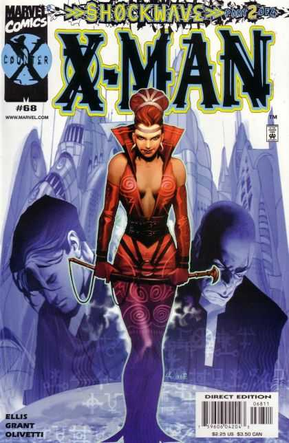 X-Man 68 - Bald Man - Woman - Sword - Red Hair - Cityscape