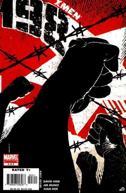 X-Men: 198 3 - Rated T - Barb Wire - Fists - Red And White Background - Protest