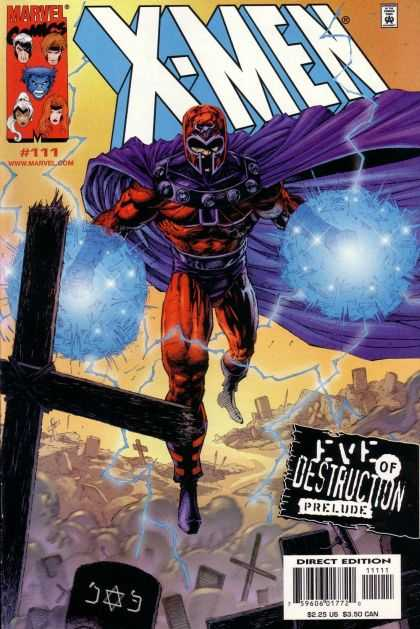 X-Men 111 - Magneto - Eye Of Destruction - Purple Cape - Magnetic - Cemetary