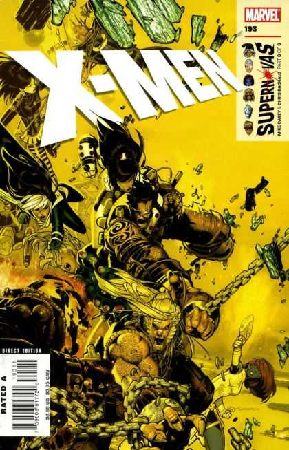 X-Men 193 - Chains - Fierce Battle - Fists - Weapons - Falling Rocks - Chris Bachalo