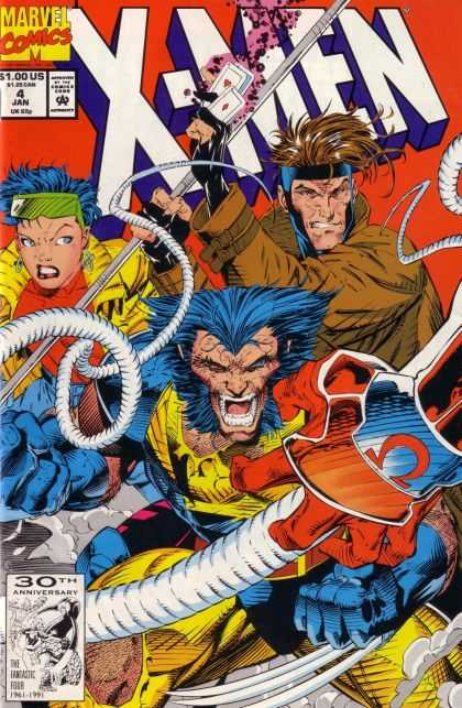 X-Men 4 - Marvel Comics - January Issue - Cards - 30th Anniversary - 100 Us - Jim Lee, Scott Williams