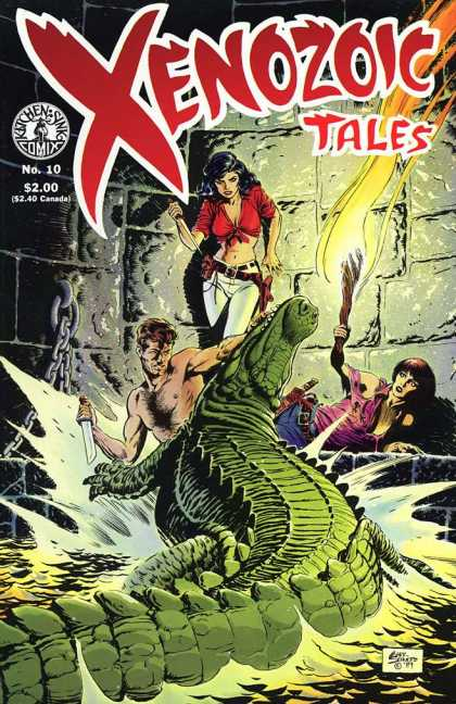 Xenozoic Tales 10 - Kitchen Sink Comics - Alligator - Fire Torch - Knife - White Pants