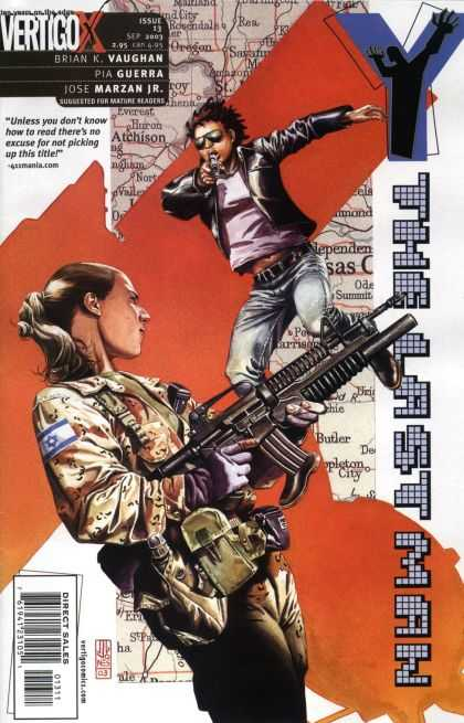 Y, the Last Man 13 - Machine Gun - Girl - Military Uniform - Sunglasses - Ponytail
