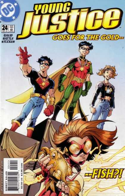 Young Justice 24 - Young Superman - Young Robin - Young Wonderwoman - Medals - Fish