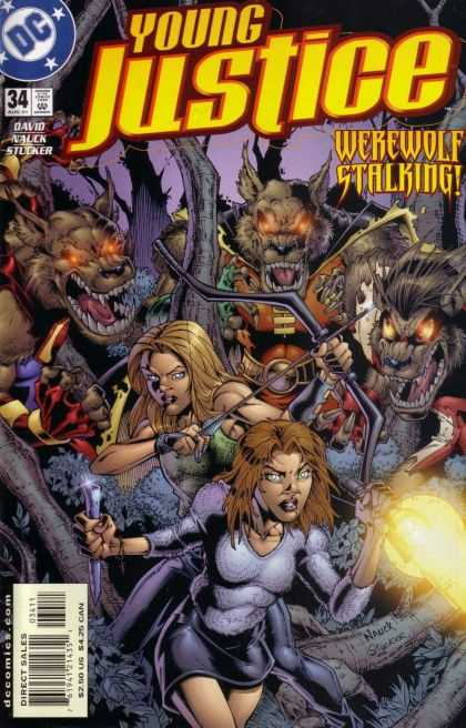 Young Justice 34 - Werewolf - Stalking - Woman - Red Eyes - Bow And Arrow