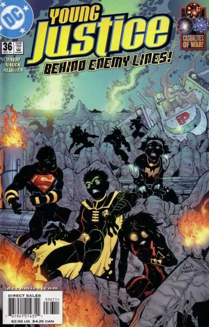 Young Justice 36 - Black Heroes - Fire - Smoke - Space Ship Crash - Superman