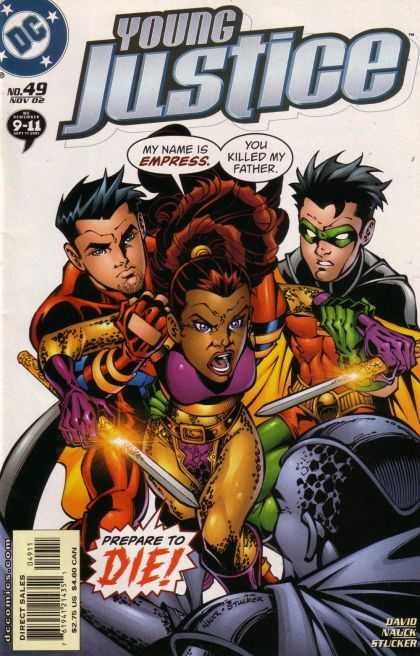 Young Justice 49 - Dollar Comics - My Name Is Empress - You Killed My Father - Direct Sales - Prepare To Die