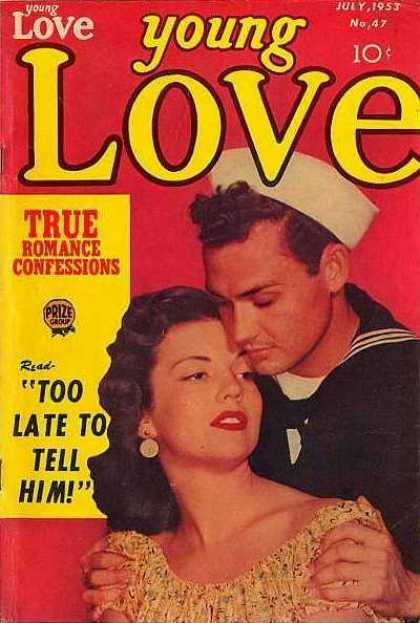 Young Love 47 - July - 1953 - Romance Confessions - Red Cover - Sailor