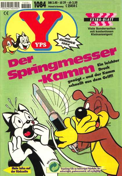 Yps - Der Springmesser-Kamm - Extra-blatt - Cat - Dog - Printed In Germany - Mit Gimmick 1084