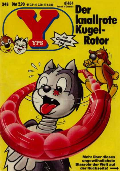 Yps - Der knallrote Kugel-Rotor - Printed In Germany - Dog - Cat - Twisted Neck - Ball Chute
