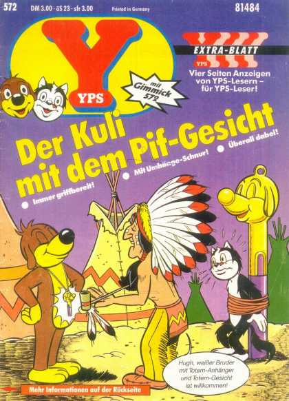 Yps - Der Kuli mit dem Pif-Gesicht - Teepee - Depiction Of Native American - Head Dress - Peace Pipe - Cat Tied Up