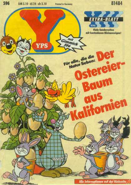Yps - Der Ostereier-Baum aus Kalifornien - Mouse In Tree - Rabbits Wearing Baskets - Handing Out Eggs - Carrying Eggs In Basket - Line Of Rabbits