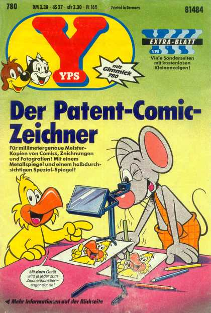 Yps - Der Patent-Comic-Zeichner - Mouse - Chicken - Dog - Cat - Colored Pencils