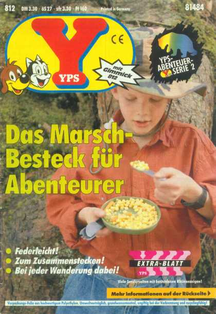 Yps - Das Marsch-Besteck f�r Abenteurer - Cereal - Young Boy - Cowboy Hat - Rock Face - Camping Bowl And Cutlery